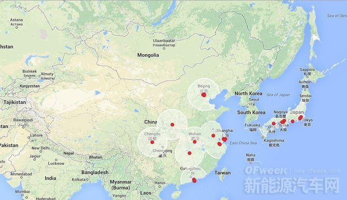 特斯拉全球超级充电站布局图公布 明年可开着Tesla的车穿行中国