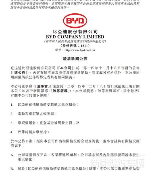 比亚迪三次连发公告澄清 巴菲特未减持股票
