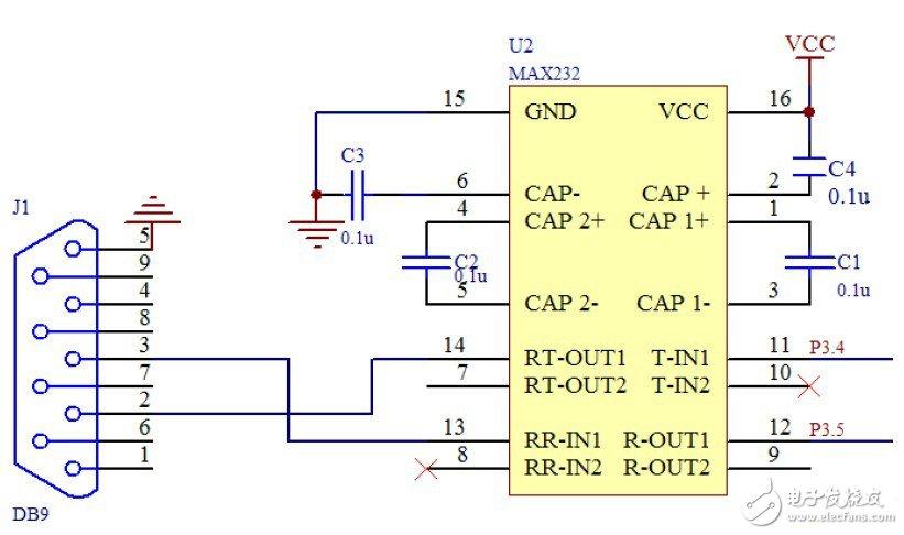 图5 串口通信电路   时钟模块设计   DS1302 是DALLAS 公司推出的涓流充电时钟芯片内含有一个实时时钟/日历和31 字节静态RAM 通过简单的串行接口与单片机进行通信实时时钟/日历电路提供秒、分、时、日、日期、月、年的信息每月的天数和闰年的天数可自动调整时钟操作可通过AM /PM 指示决定采用24 或12 小时格式。DS1302 与单片机之间能简单地采用同步串行的方式进行通信仅需用到三个口线RES 复位、I/O 数据线、SCLK 串行时钟。