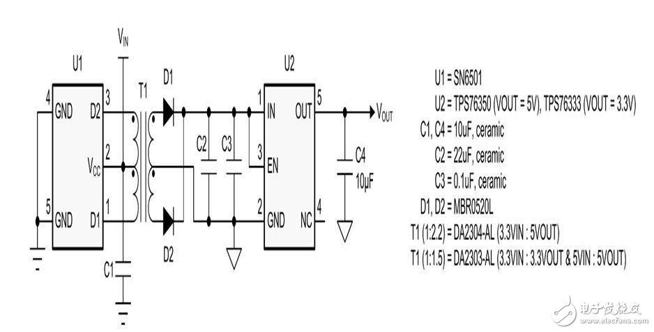 请注意,为了便于说明,我们省略了旁路电容器和上拉/下拉电阻器。首批三个电路都有一个异步数据传输模式,其使用两条数据线路和一条控制线路,用于驱动器/接收器激活。这样,在节点控制器和标准兼容收发器芯片之间便只需一个三重隔离器了。图 4 所示隔离式 I2C表示一种特殊情况,因为它支持仅有几英寸长的短通信链路,因此不需要线路收发器。在一些多主机应用中,两个节点会同时访问总线。为了防止信号转回其源,我们使用一个双向缓冲器来支持从R(x,y) 到 S(x,y) 的接收传输以及 S(x,y) 到 T(x,y) 的发