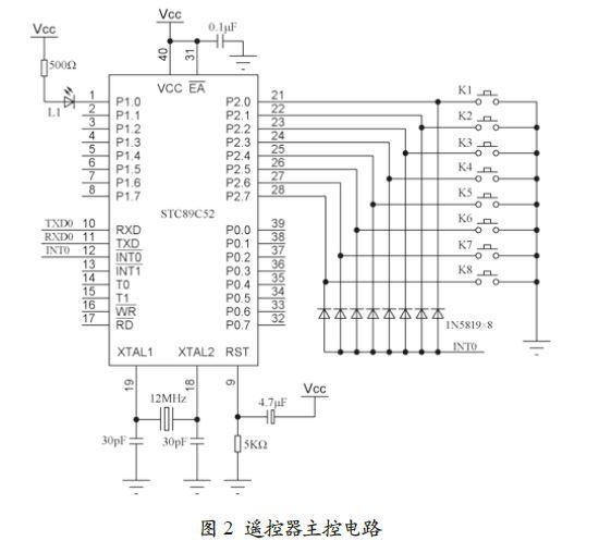 图2所示为遥控器主控电路的硬件原理图.
