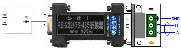 485A是国内著名串口通信方案供应商波仕卡公司的一种无源RS-232到RS-485转换器。该产品虽然堪称经典,但是经过多年改进,现在已经具有许多功能。本文介绍4种基本使用技巧。   1、对外提供5V电源