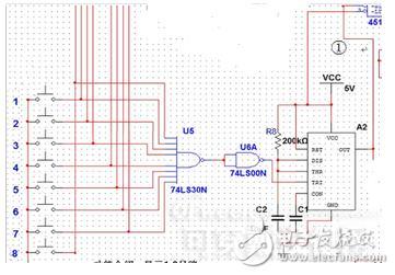 手动消除警报电路,由锁存器74ls374