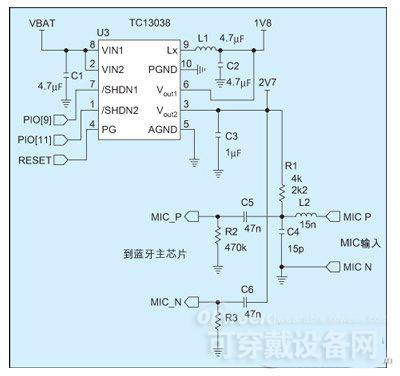 图1:tc1303在蓝牙耳机上的应用电路