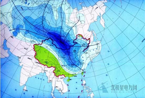 第一条路径来自新地岛以东附近的北冰洋面,从西北方向进入蒙古国西部