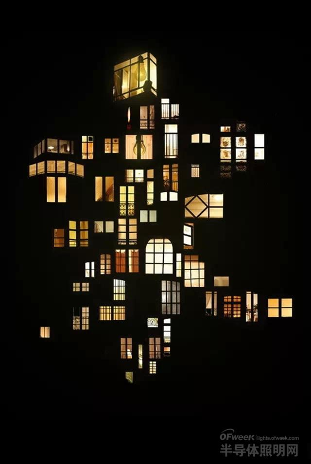 黑夜灯光图片手绘