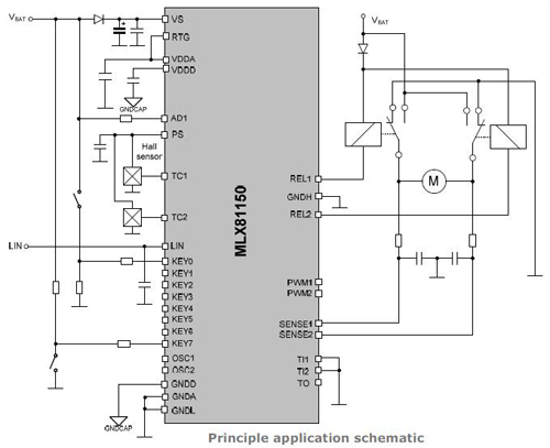 MLX81150继电器驱动原理图