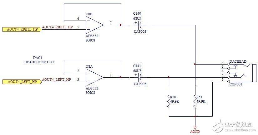 dac耳机输出电路图
