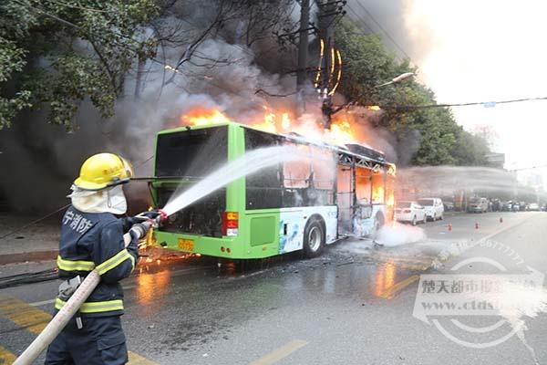 咸宁价值百万新能源公交自燃 点着路边变压器图片