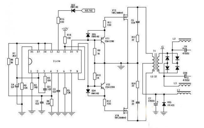 图2 功放变换器电路图-汽车功放电路设计解析