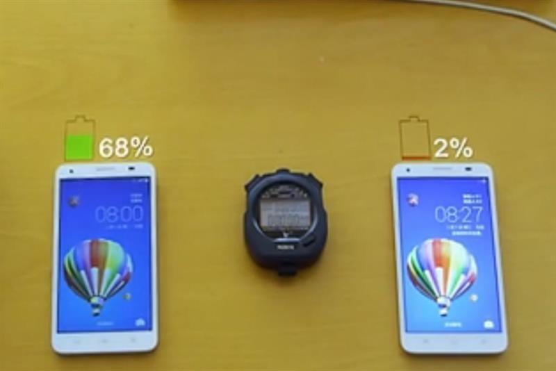 华为快速充电电池充电两分钟电量达68%