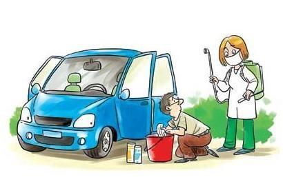 汽车排放废气漫画图片