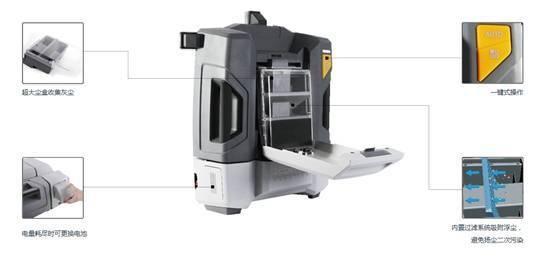 """(锐宝RAYBOT功能构造)   锐宝使用方法   1.将尘桶及满电的电池装入机器。   2.将机器放置在太阳能电池板上,打开电源开关。   3.选择左/右清扫模式后按""""AUTO""""键,机器开始自动清扫。   手持式设备--清洁机器人的智能""""管家""""太阳能清洁机器人与手持式设备通过""""Zigbee""""实现通讯,用户能够用一台手持式设备控制10台甚至更多的机器。当机器工作中有异常时,手持式设备会立刻显示相应的异常信息。"""