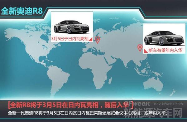 新奥迪R8将亮相日内瓦车展 电动版续航量程将达500公里