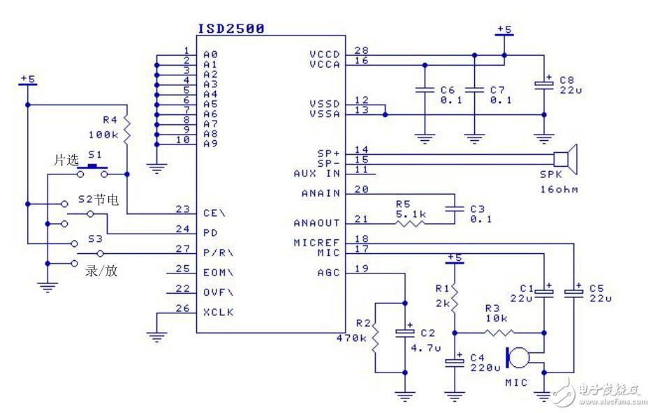 at89c2051控制语音芯片录放音系统电路