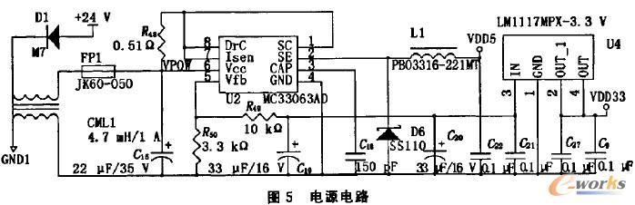 4 软件设计   系统采用RealView MDK-ARM V4.10为开发平台,以C语言为主要开发语言,程序主要分三个部分:旋转编码器采集部分采用中断方式,通过LPC1768的定时捕获单元来完成对输人脉冲信号的计数工作;CAN通讯部分也采用中断方式监听来自DPU或者其他控制主机传来的命令,然后执行相应的数据传送任务;而主程序则通过一定的时间调度算法,完成旋转编码器转动方向的判断、角速度的计算以及设置相应的指示灯状态、处理CAN通讯过程中出现的异常状况、喂狗等操作。主程序流程图见图6。