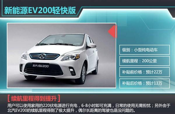 北汽EV200轻快版今日上市 预计13万起