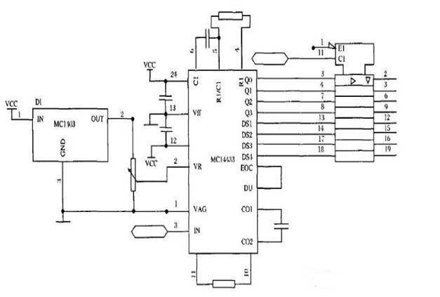我们选用motorola 公司生产的高性能7/2位a/d 转换器件mc14433 ,其片