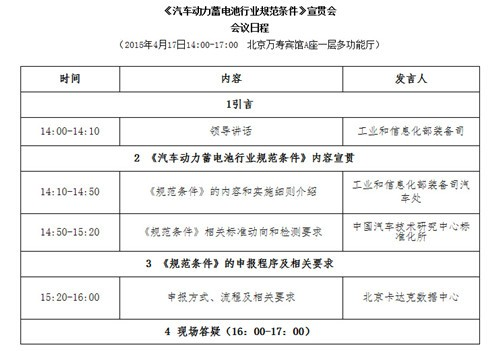 工信部17日将召开《汽车动力蓄电池行业规范条件》宣贯会