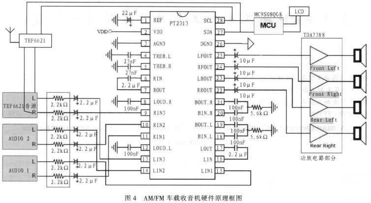 第二部分是tef6621调谐器与天线接收电路,第3部分是由pt2313和tda738