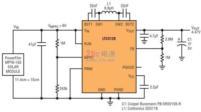 图 6:具最大功率点控制的室外太阳能电池供电超级电容器充电器   有一点很重要,请注意,当 LTC3129 / LTC3129-1 处于 MPPC 控制状态时,突发模式工作是禁止的,而且 VIN 静态电流为几毫安,因为该 IC 以 1.2MHz 连续地切换。因此,MPPC 不适合与不能提供约 10mA 最小电流的电源一起使用。就需要类似 MPPC 功能但输入电源电流能力很弱的应用而言,准确的 RUN 引脚应该用来设定一个 UVLO 门限,如图 1 例子所述。   使用 MPPC 实现固有安全性   MP