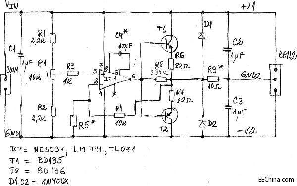 图5:采用运放和双极结型晶体管设计的简单电压分割器。   输出电压用P1调节。这种电压分割器工作起来像直流放大器一样,增益Av等于Av=1+R4/R5。R5如果不需要可以省略,此时的增益就是单位1。该电路也可以用作跟随器和电流缓冲器。   电压分割器的输出电流限制为50mA至2000mA,具体取决于晶体管T1和T2以及运放的输出能力。电容C4*只用于需要给运放提供外部频率补偿之时。大多数音频功率放大器包含图5所示的所有元件,因此非常适合于搭建可调和非可调的电压分割器。