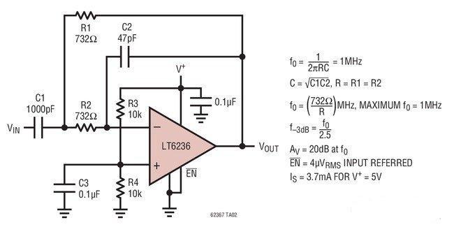 LT6236 / LT6237 / LT6238 是单路 / 双路 / 四路低噪声、轨至轨输出运算放大器,具有 1.1nV/√Hz 的输入参考噪声电压密度,且每个放大器仅吸收 3.5mA 的电源电流。这些放大器将非常低的噪声和电源电流与一个 215MHz 的增益带宽乘积和一个 70V/μs 的转换速率组合在一起。低噪声、快速稳定时间和低失调电压使该放大器非常适合驱动低噪声、高速 SAR ADC。LT6236 具有一种停机功能,可用于把电源电流减小至 10μA 以下。