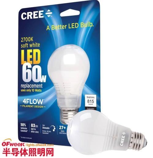 科锐推出新款LED灯泡 寿命长达27年以上
