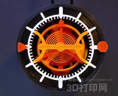 全3D打印陀飞轮手表可精确走时35分钟
