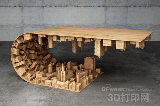"""受《盗梦空间》启发 设计师推出""""wave city""""咖啡桌"""