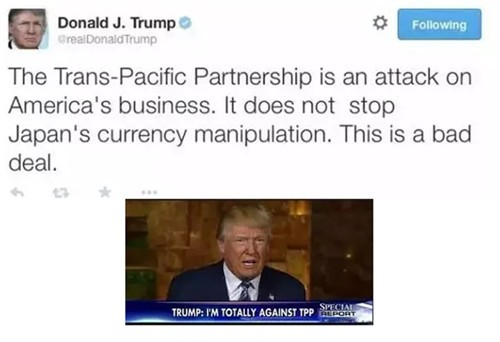川普称上任即退出TPP 将如何影响汽车业?