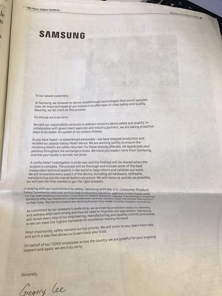 三星包下美国主流报纸版面 就 Note7 和洗衣机事故道歉
