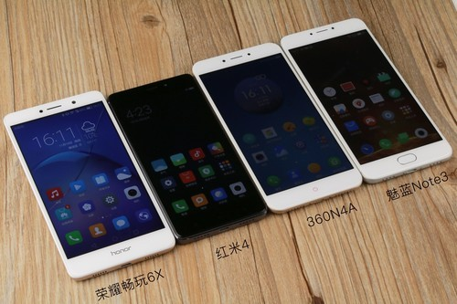 荣耀畅玩6X/红米4/360N4A/魅蓝Note3横比:千元手机大乱斗!都有啥不同处?