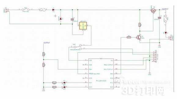 在电路的输入端我用了一个热熔断保险丝和齐纳二极管,防止电压突然过大或者短路。然后7805作为线性稳压器,后面用一个PNP三极管1815和PMOS管做为开关给电容C2充电。然后反馈信号由AD转化输入口接入微处理器PIC16F1503。   3.设计发电机支架   接下来需要一个齿轮构成的加速器和支架来构成发电机。于是我设计了一个1:5的人字形齿轮组合: