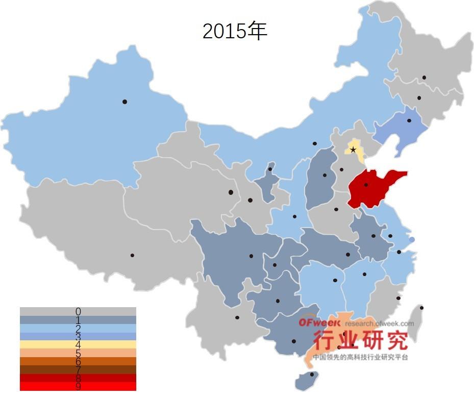 2015年国家智能制造试点项目地区分布