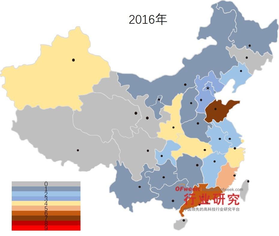 2016年国家智能制造试点项目地区分布