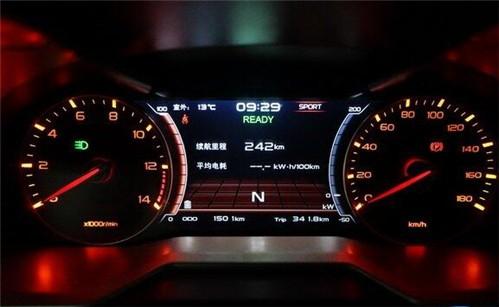 """续航里程显示为242公里,电机转速表(左)与车速表(右)采用传统""""指针式"""""""