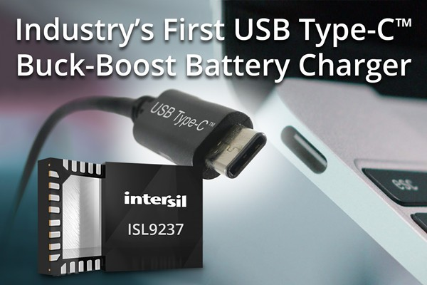 Intersil推出最新单芯片USB-C升压-降压电池充电器