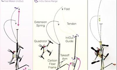 新型机器人飞行、降落、爬墙演示图