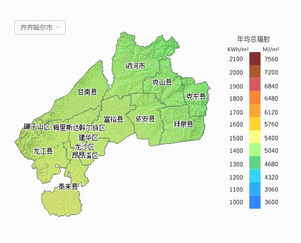齐齐哈尔市——年均总辐射