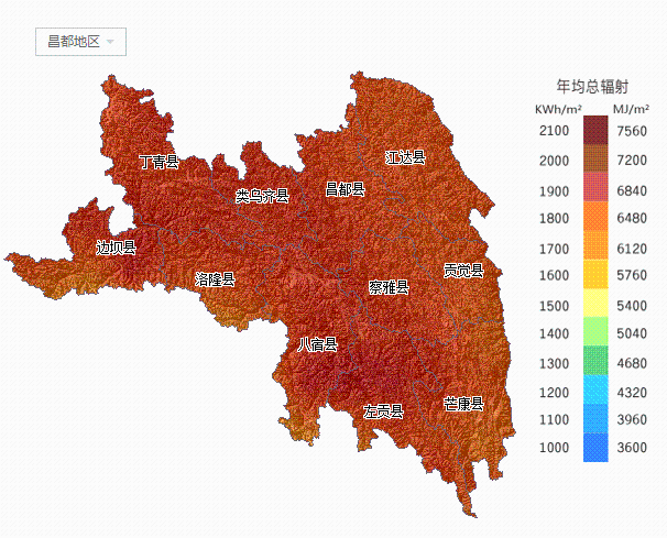 【收藏】西藏所属各市太阳能资源分布地图集锦图片