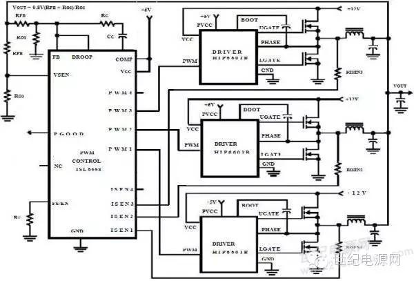 案例四:多相同步buck   原理图:此电路特点是低压大电流,频率高,4