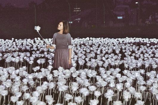 5.2万朵LED玫瑰花灯在武汉展出
