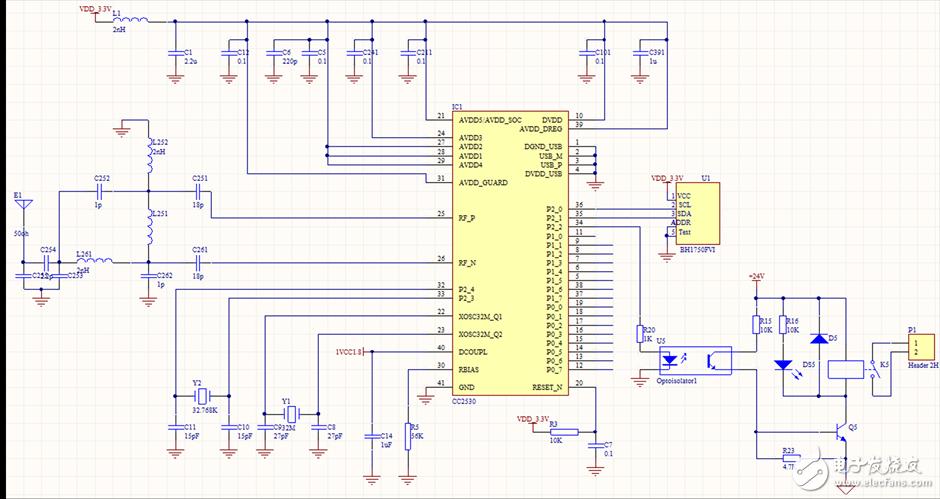 图4.终端设备电路图   根据小区路灯照明系统的特点,系统采用网状网络结构,路由根据路灯的分布情况带若干个终端设备,终端设备进行数据采集以及控制,路由设置在Z-stack里修改f8wConfig.cfg文件进行设置,路由表大小设置MAX_RTG_ENTRIES,按节点数10:1进行设置,通信方式采用非信标模式。另外,由于路灯系统本身有供电电源,因此ZigBee模块使用路灯的电源进行整流变压供电,采用锂电池作备用电源,当路灯电源线路出现故障断电,ZigBee模块可以使用锂电池继续进行工作,通过ZigBee