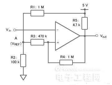 图5:有滞后效应的比较器电路