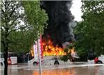 【聚焦】南京一电动巴士起火 疑因淹水造成短路