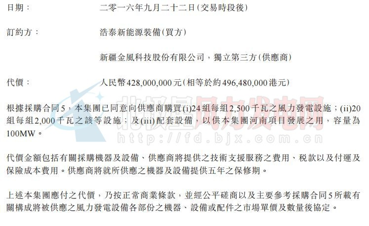 协合新能源以4.28亿元人民币采购100MW风力发电设备