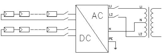 上图为单相逆变器和美国split phase系统电网的连接方法,逆变器型号