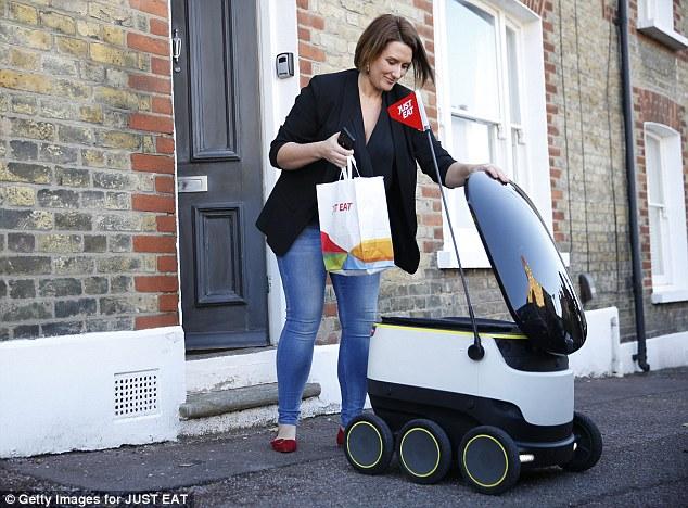 美公司发明快递机器人 走上街头送货上门