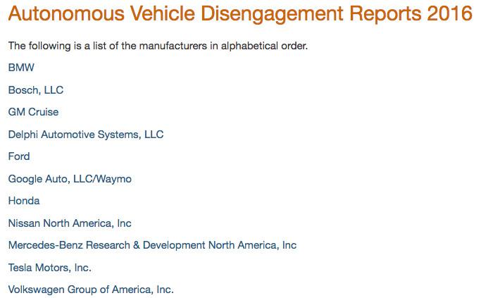 加州交管局发布了一份自动驾驶年终报告:Waymo 、通用、日产名列前三